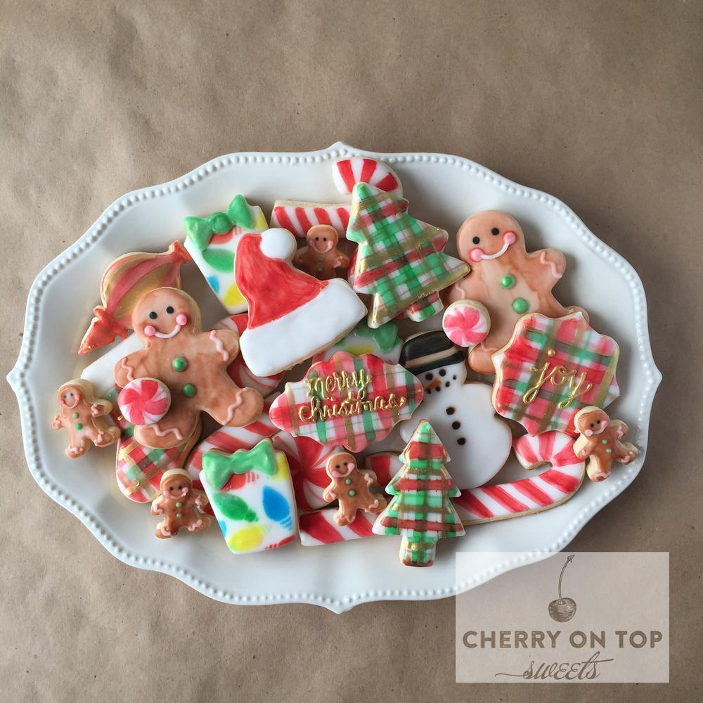 Hand painted Plaid Christmas cookies Cherry on Top Sweets