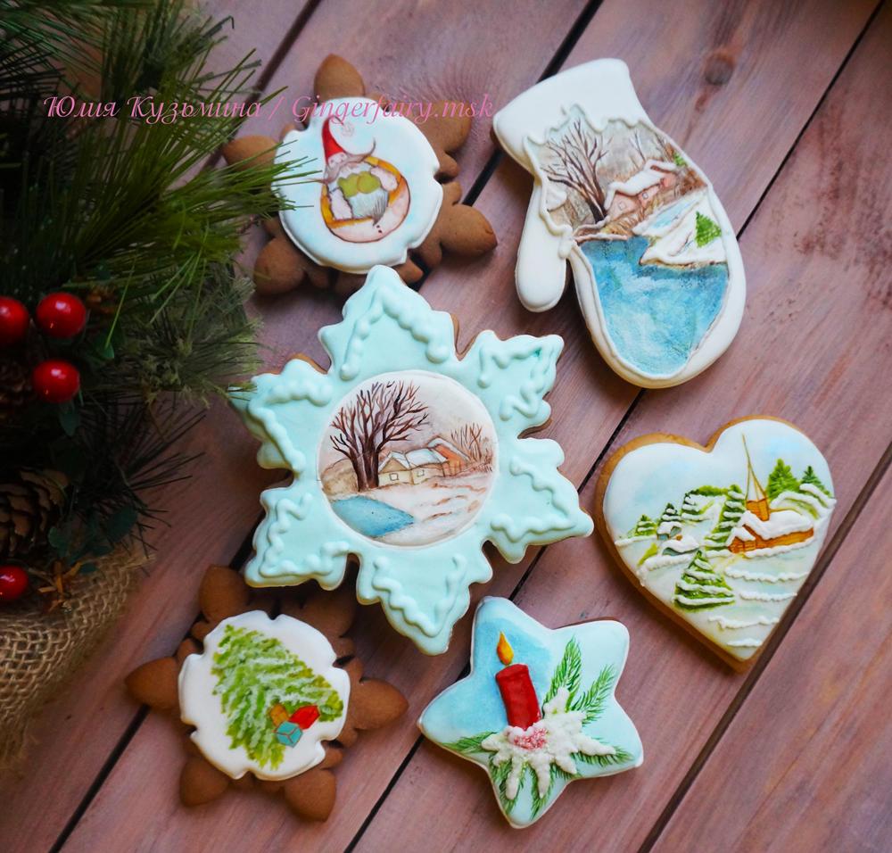 Handpainted set of Christmas cookies