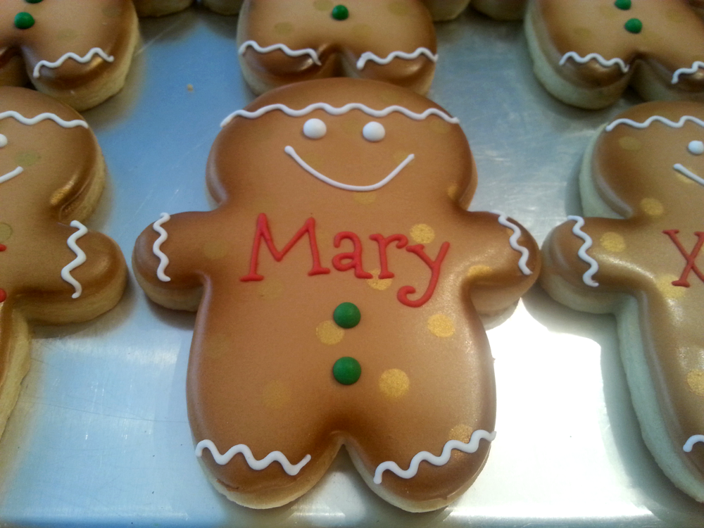 Personalized Fat Head Polka Dotted Gingerbread Man Shaped Sugar