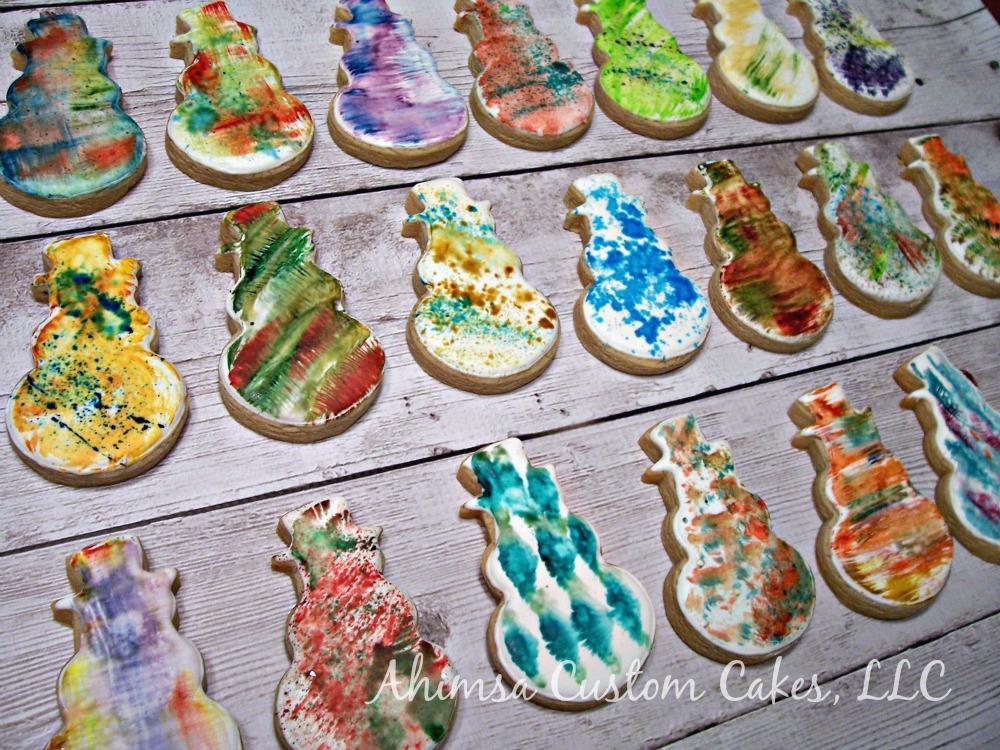 Abstract Snowman cookies by Ahimsa Custom Cakes