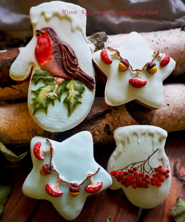 Christmas gingerbread robin and mushrooms cookies