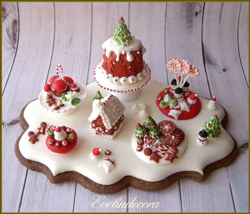 Icing food miniature on cookie: Christmas dessert table ❤️
