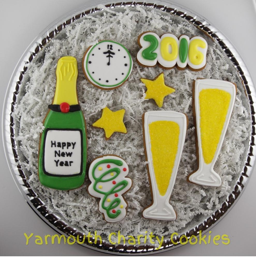Unpackaged Set New Year's Eve Cookies by CheerfulMomma's Custom Art Cookies