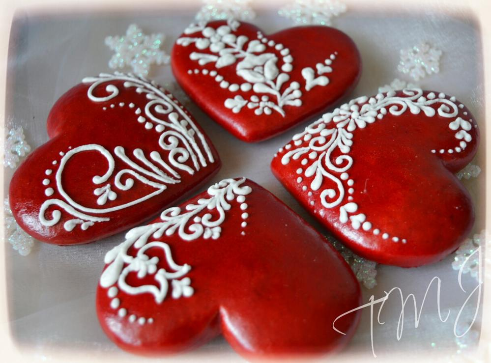 Red and white hearts