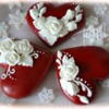 Red hearts and white roses