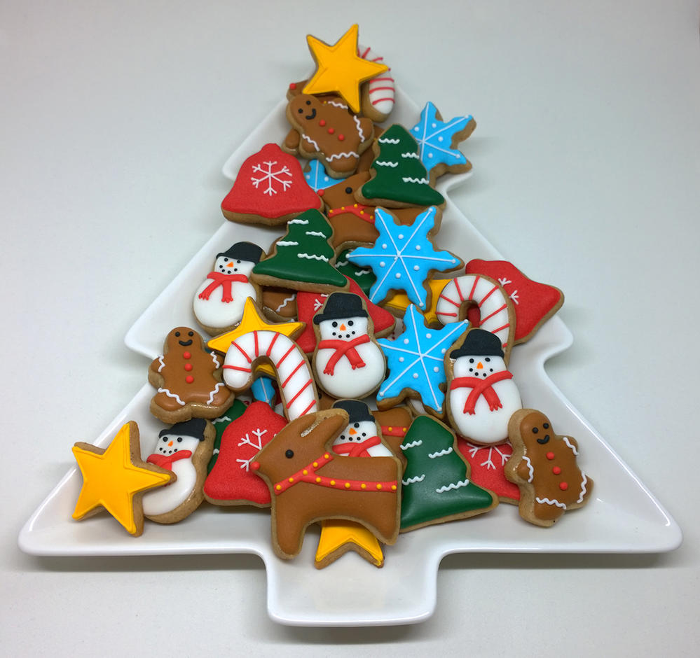 Platter Of Mini Christmas Cookies Cookie Connection