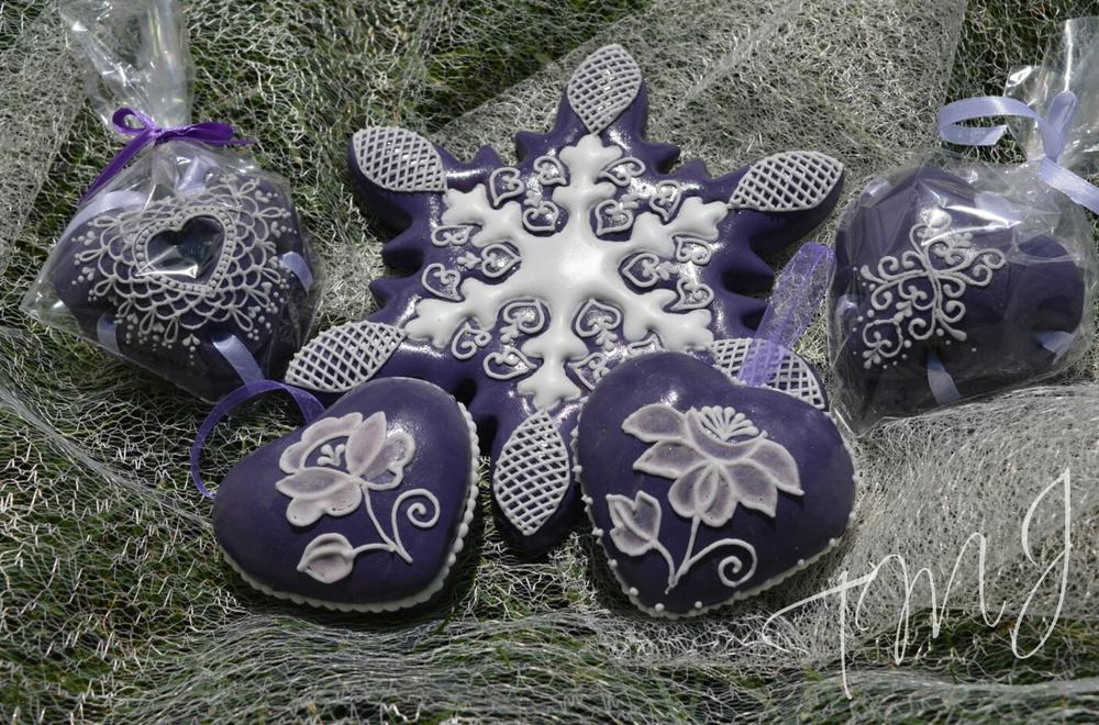 Purple and white hearts and snowflake