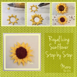 Royal Icing Sunflower Step by Step Manu Feb 2016