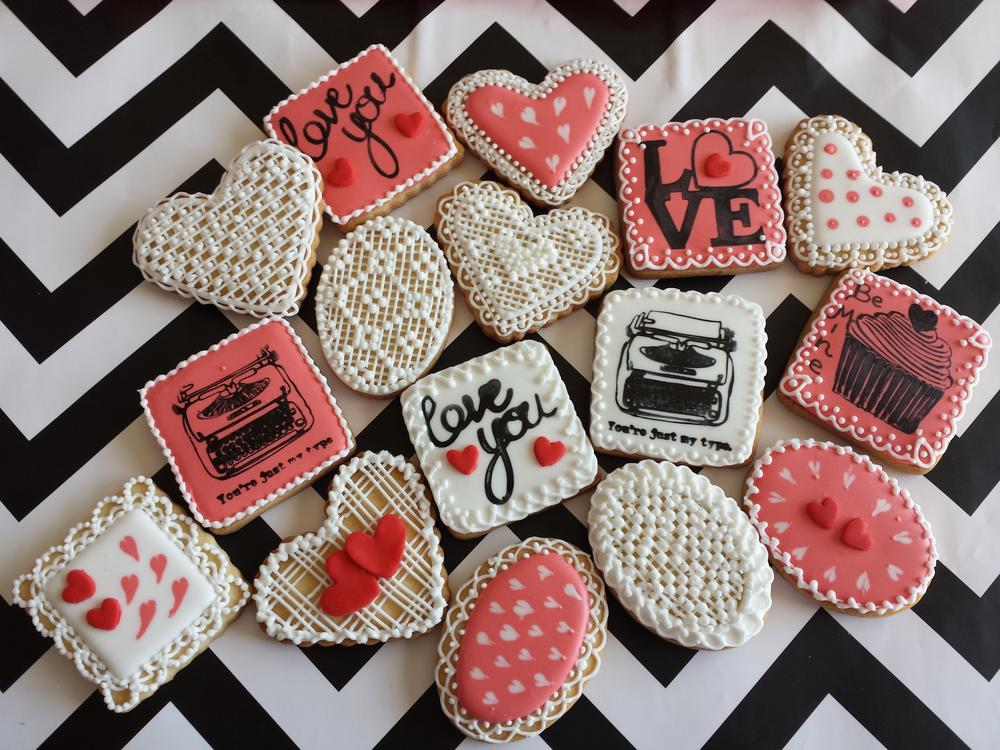 Valentine's day. Love, icing, glassa, stamps