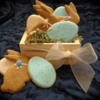 Burlap bunnies and speckled eggs