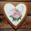 handpainted Sweet rose gingerbread heart by Gingerfairy