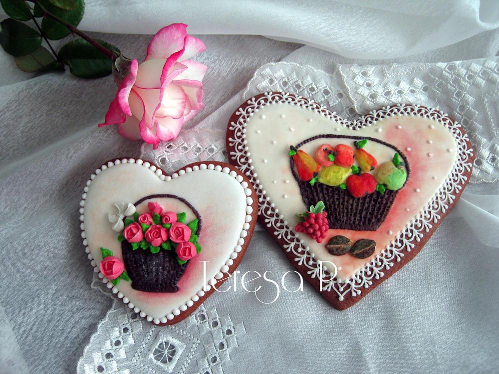 2-D Gingerbread Hearts, zwłaszcza PerničkyMisternie ręcznie rurami Cookies