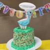 Mo Willems Pigeon Birthday Party Cake with Cookie Topper