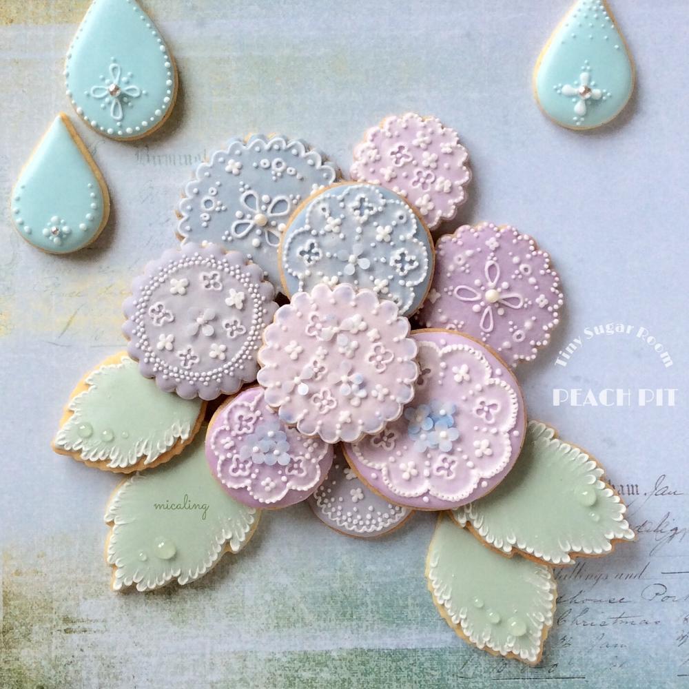 Lacy Cookies - Hydrangeas