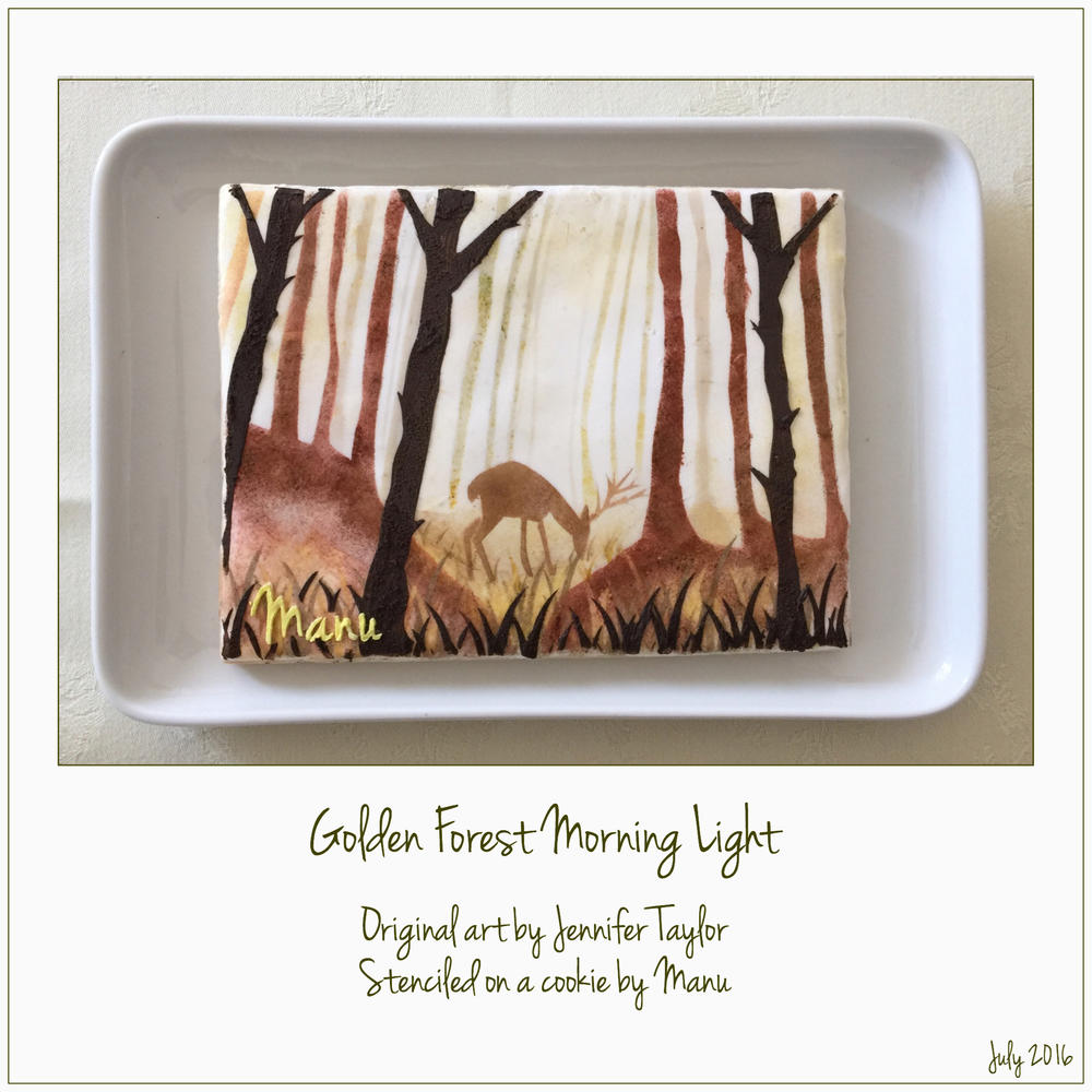 """Golden Forest Morning Light"" Stenciled on a Cookie by Manu"