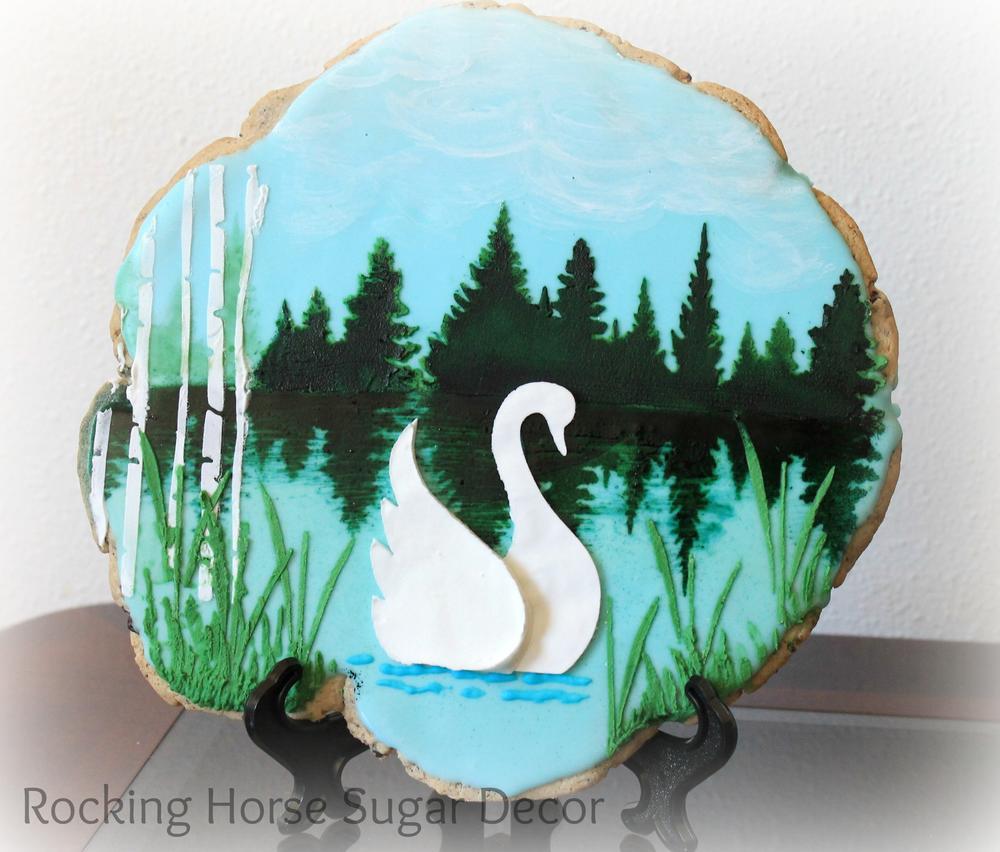 Stenciled Swan Scene