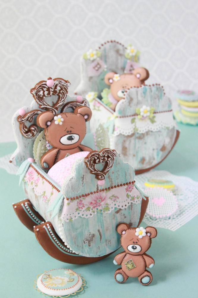 3-D Baby Cradle Cookies by Julia M Usher