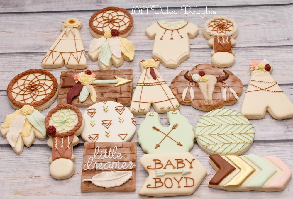 Baby Shower Cookie Images ~ Boho baby shower cookies cookie connection