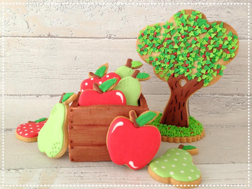 3D wooden fruitbox apple pear appletree