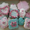 Bridal shower cookies in turquoise and pink