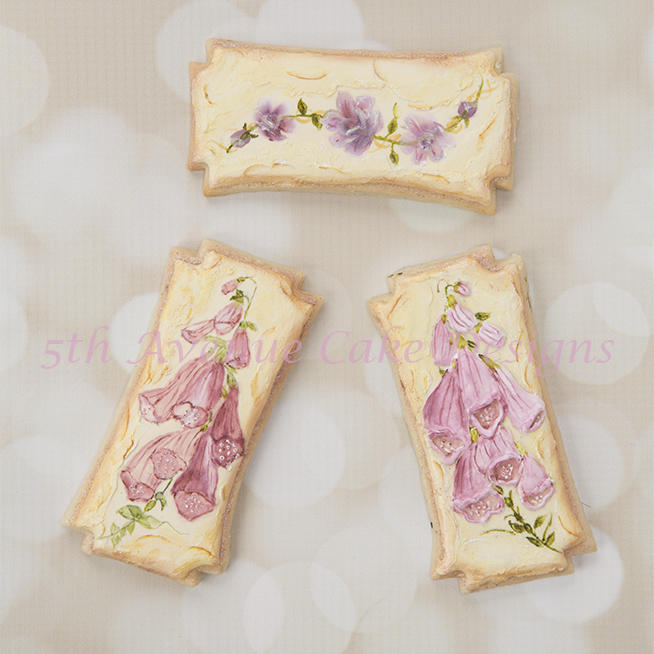 Vintage Foxglove Flower Cookies with a Stucco Background