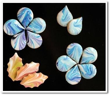 Marbled Flowers and Leaves