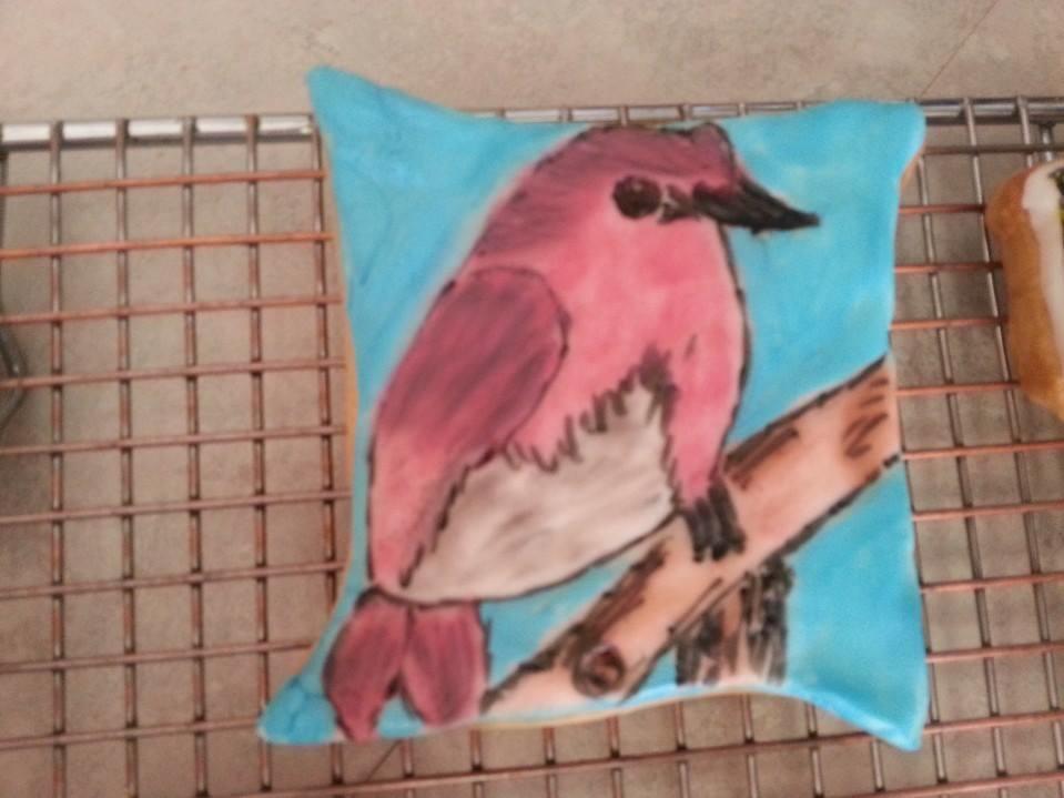 Handpainted Bird on a Branch