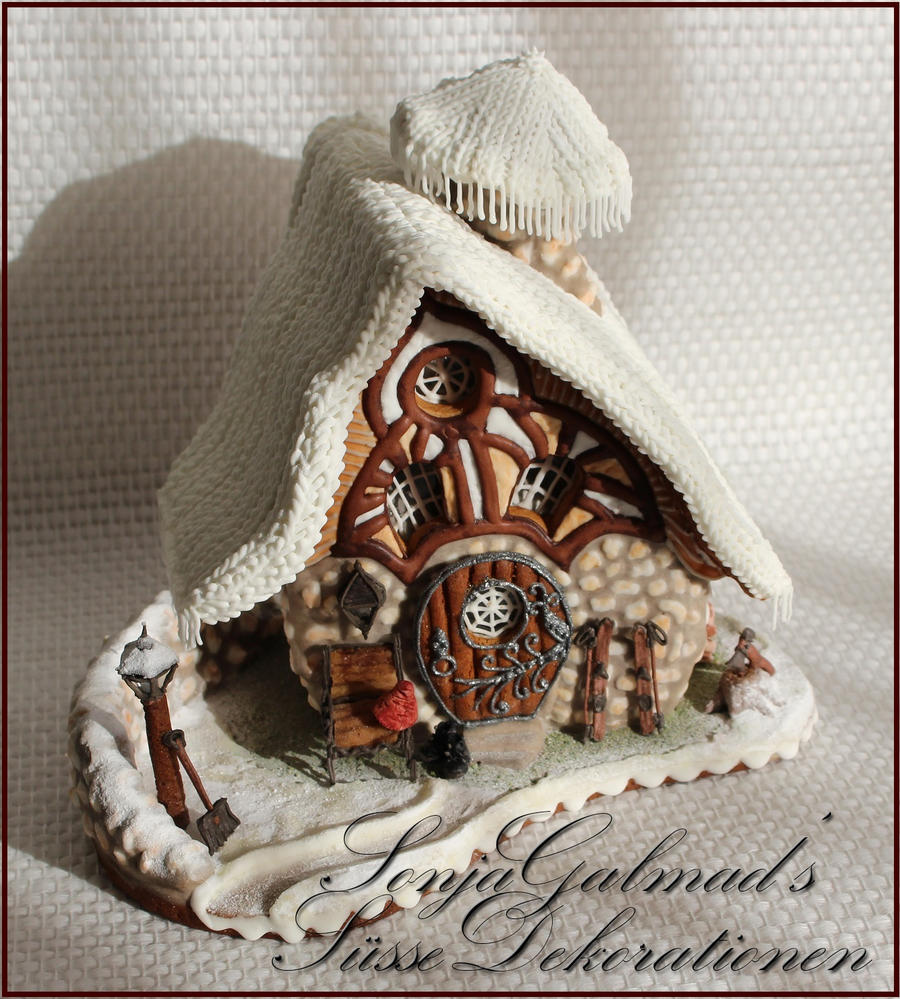 "Crooked Little Dwarf House under a ""Knitted"" Blanket of Snow"