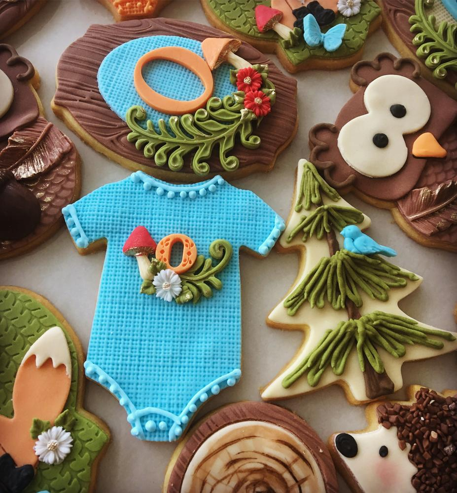 Lorena Rodríguez. Woodland cookies. Baby shower cookies