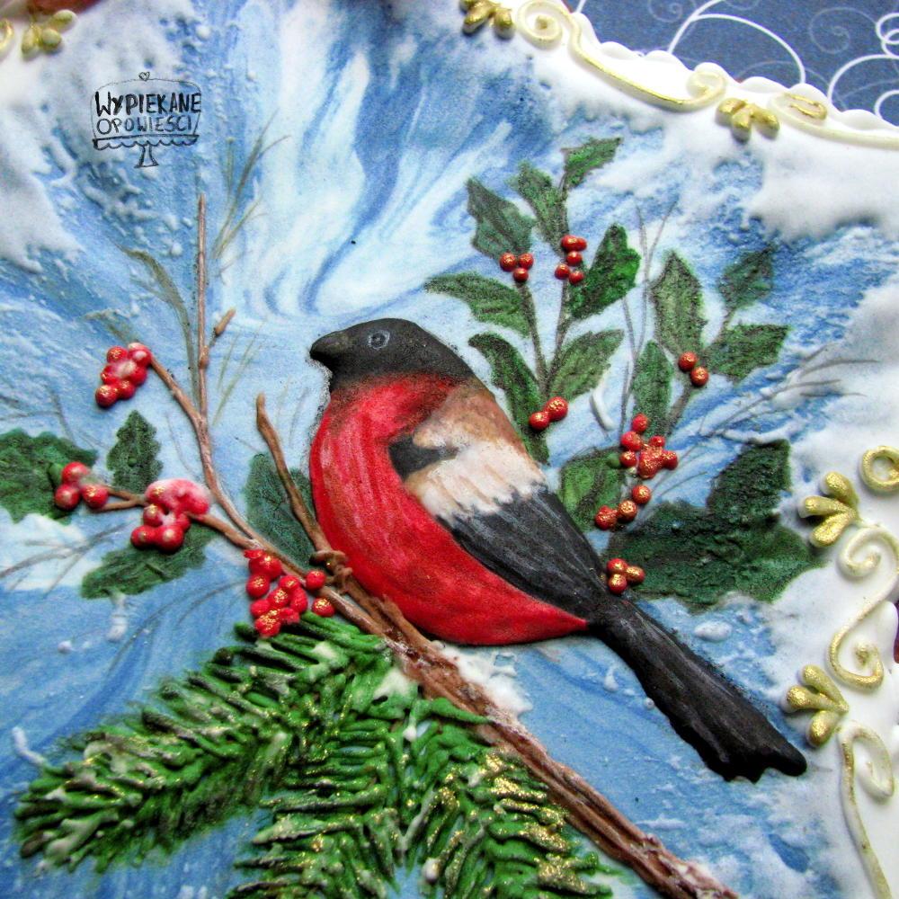 Royal icing Bullfinch on a branch