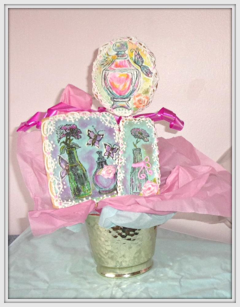 ~Vintage Bottles, Blossoms & Butterflies ~ Sugar Cookie Bouquet