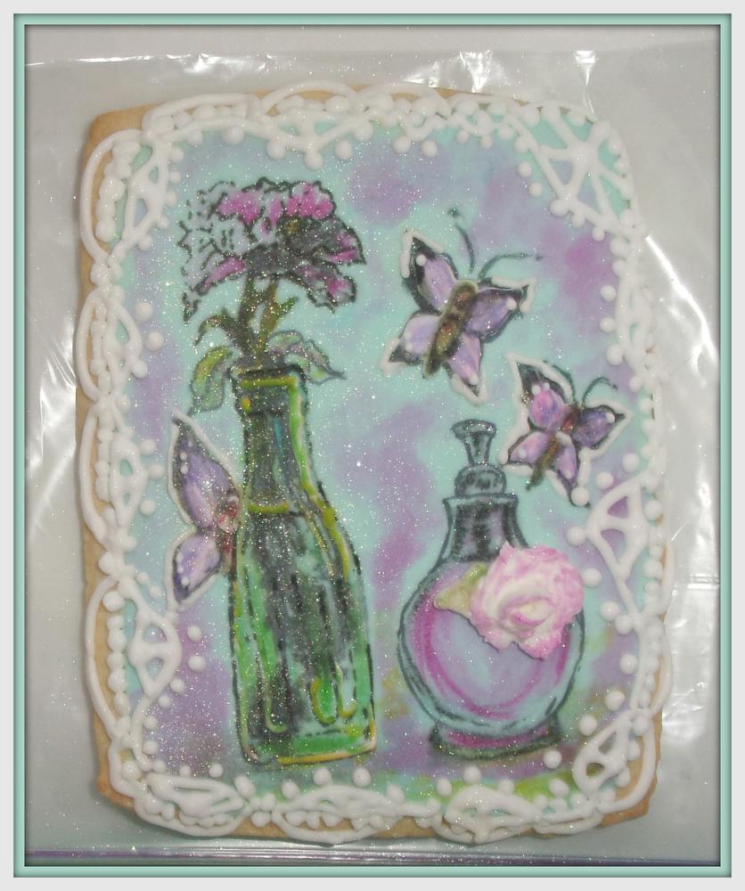 Vintage green glass bottle  with Poppy blossom & vintage perfume bottle