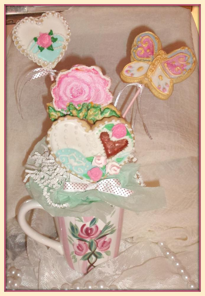 Valentines Sweet Cup Of Love Cookie Bouquet