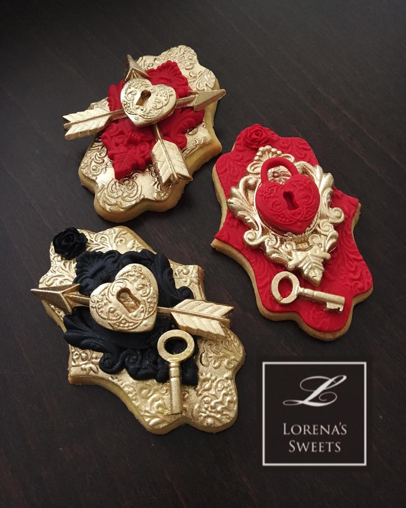 Lorena Rodríguez. Valentine's cookies. Love lock cookies . Door lock cookies