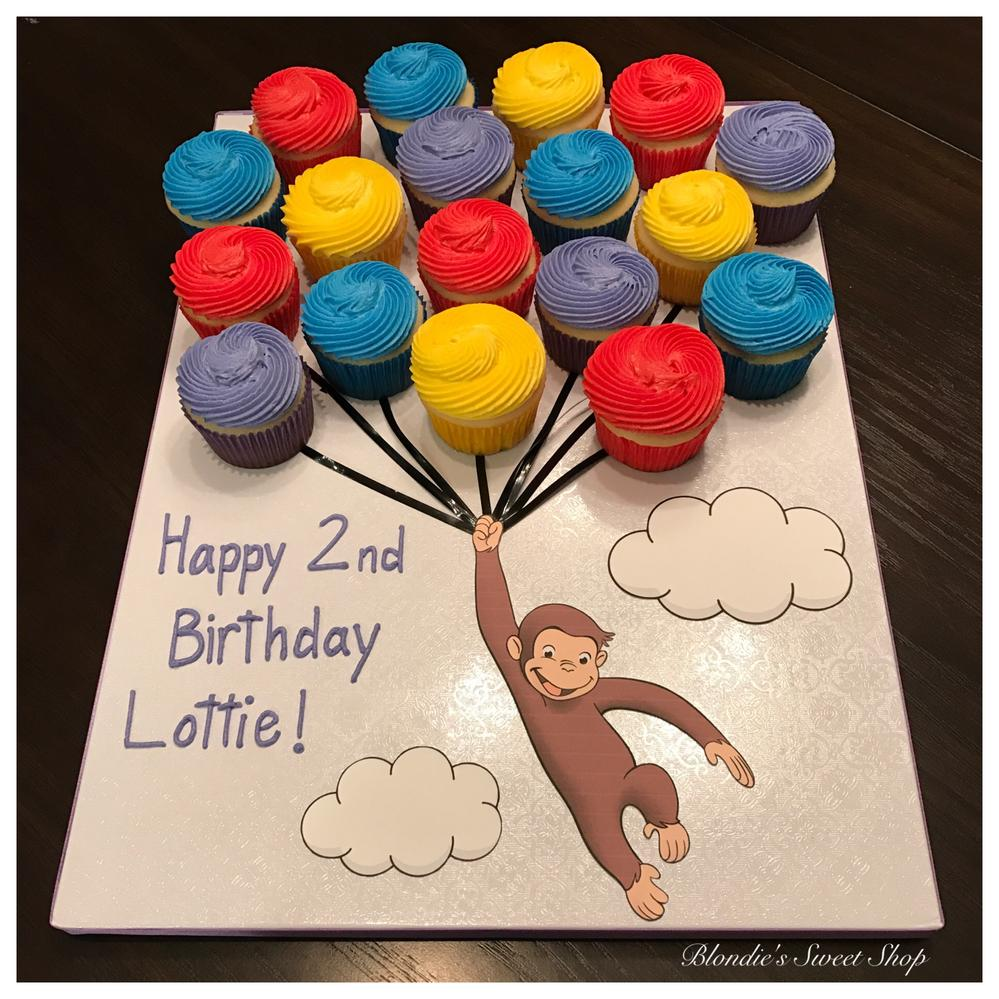 Magnificent Curious George Cupcake Display Cookie Connection Personalised Birthday Cards Paralily Jamesorg