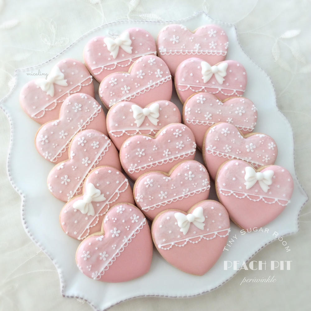 Lacy Pink Heart Cookies