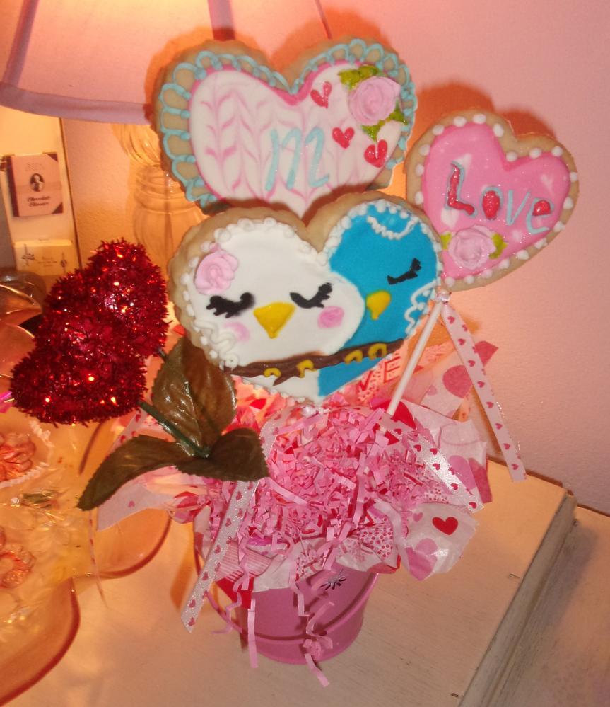 Love Birds & Monogram Hearts Cookie Bouquet