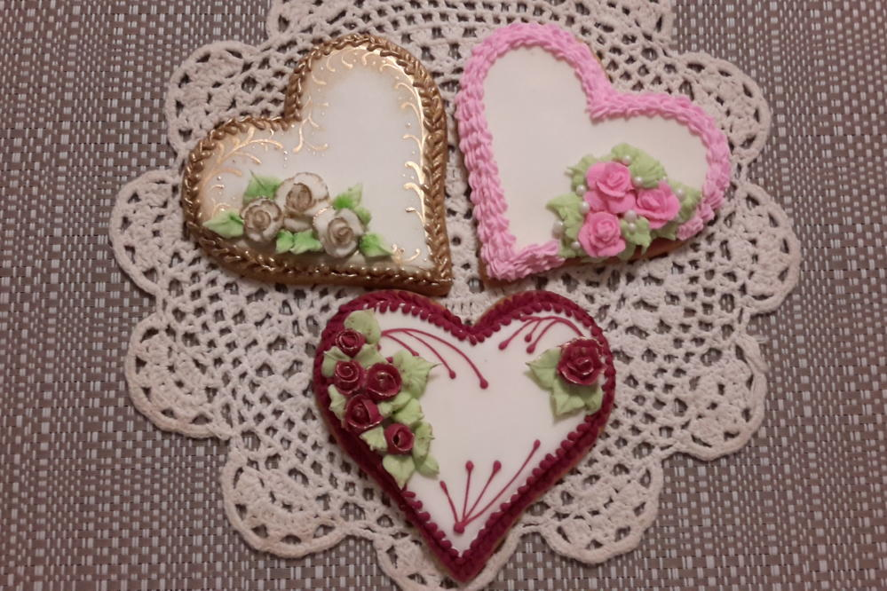 First Rose & Heart Cookies by Maxine