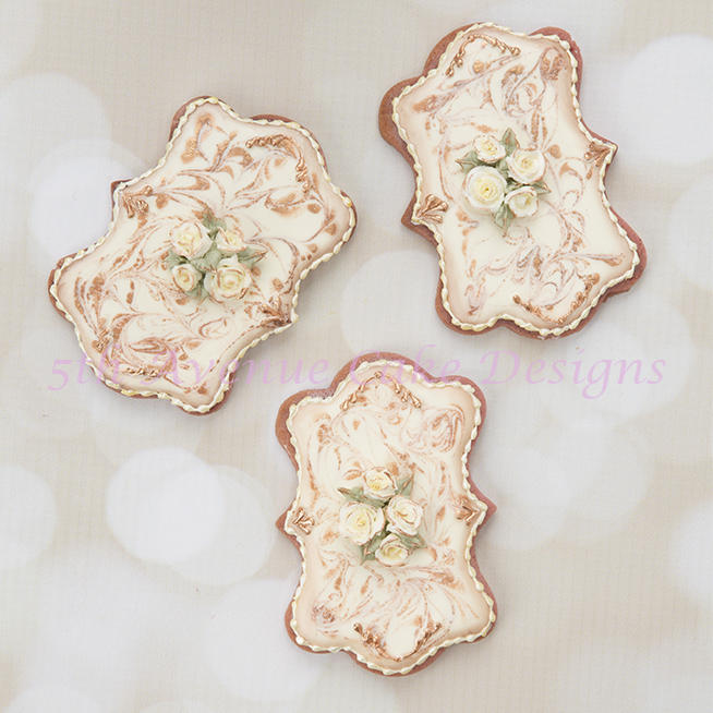 Royal Icing Antique Marbled Cookies