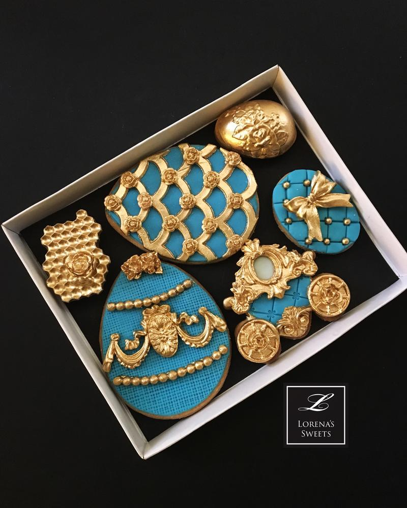 Lorena Rodriguez. Easter cookies. Faberge Egg cookies. Faberge inspired