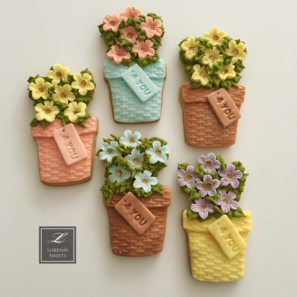 Lorena Rodriguez. Spring cookies. Flower pot cookies .