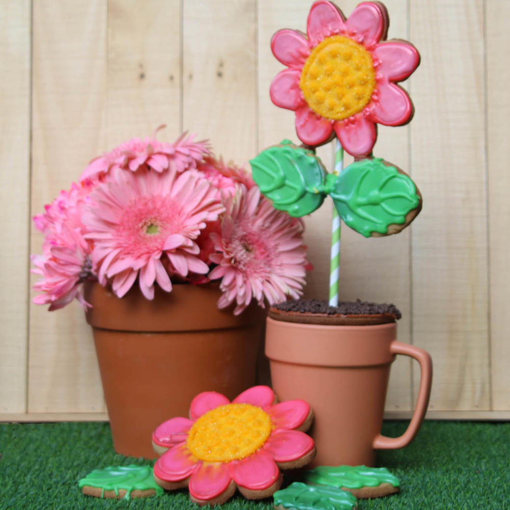 Pink Flower Pot Mug Cookie Lee Shepherd Gingerhaus