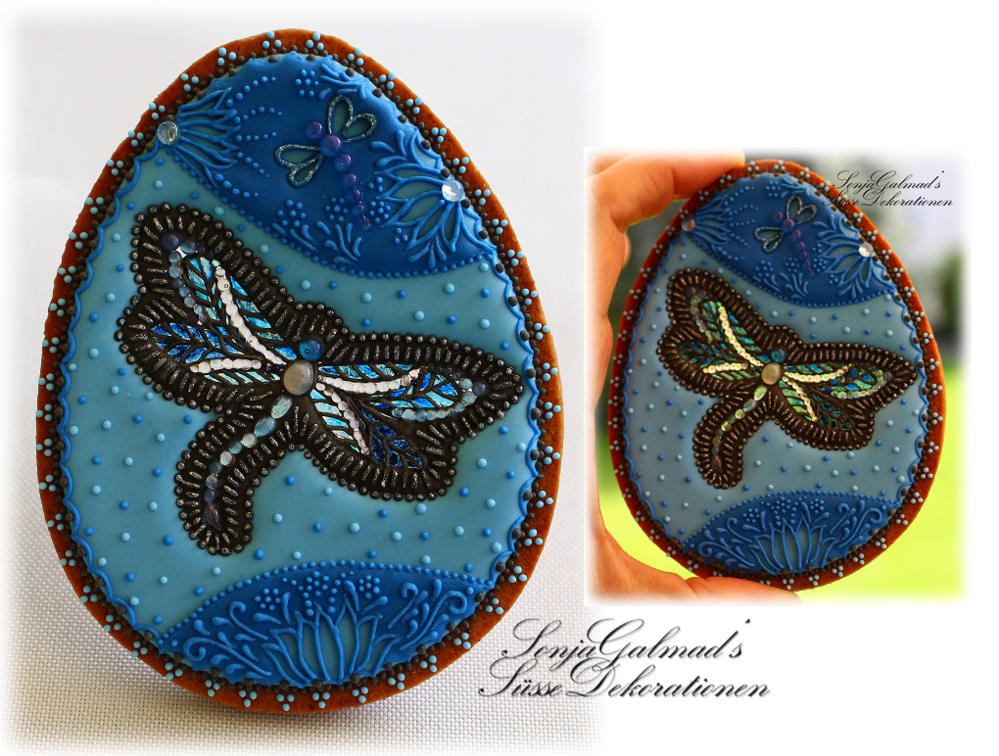 Dragonfly Easter Egg Cookie with Isomalt Stained Glass Effect