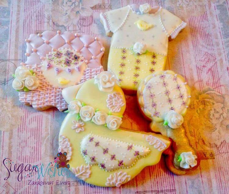 Baby Cookies in Lilac and Yellow