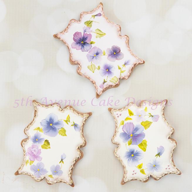 Handpainted Pansy Cookies