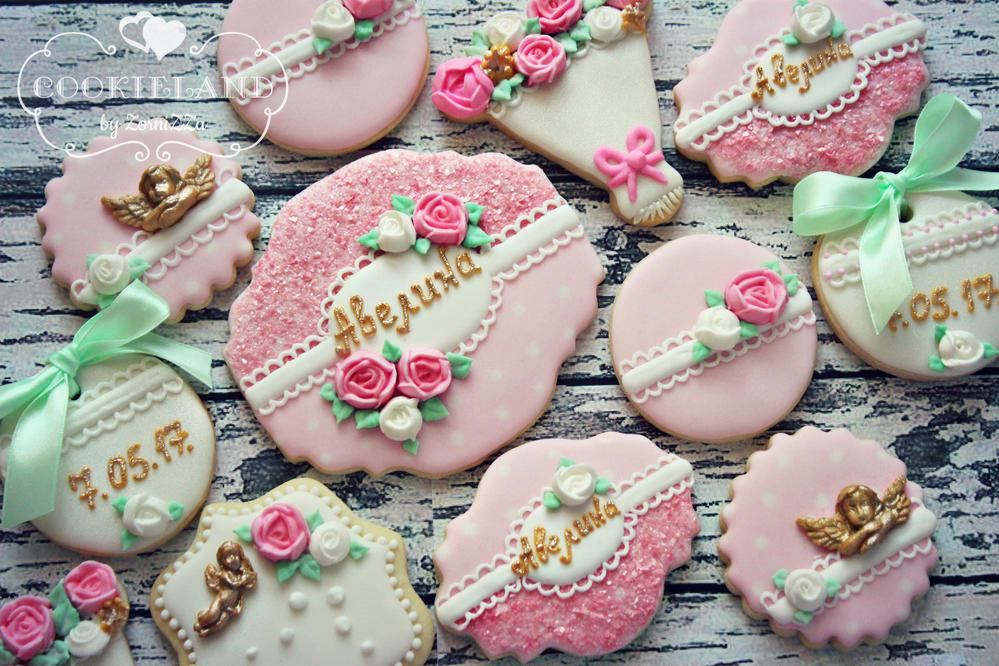 Pink Glitter Baptism Cookies