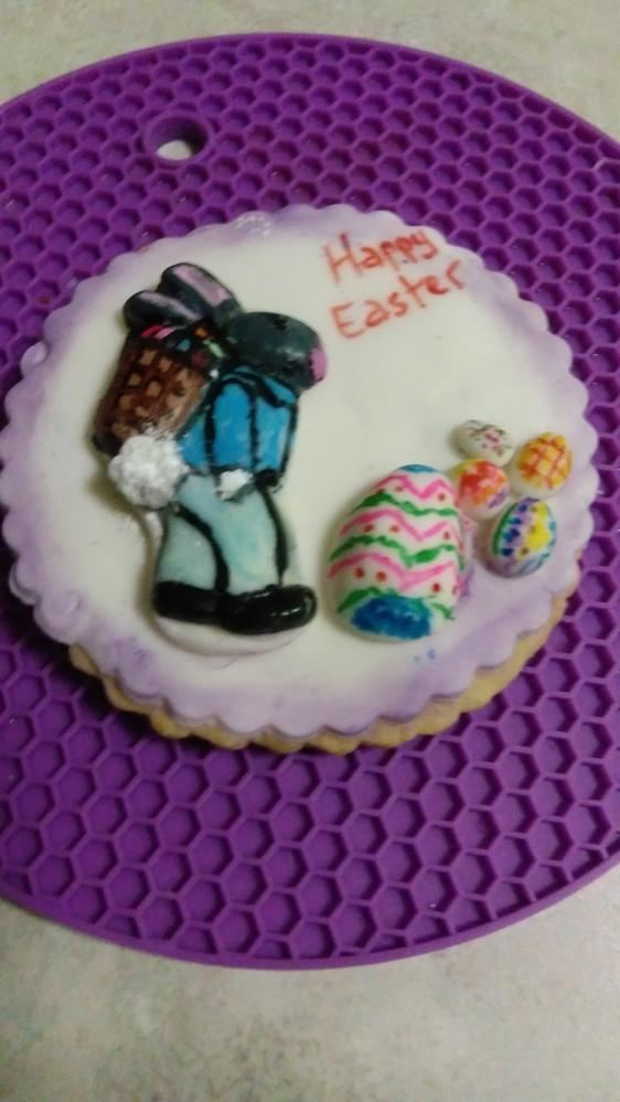my cookie fondant rabbit carrying back pack with eggs for Easter