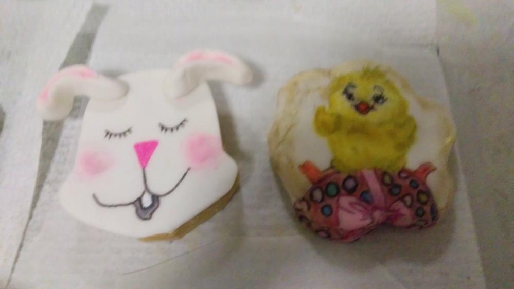 my cookies (two) one cute chick sitting on an egg, the other a dog face