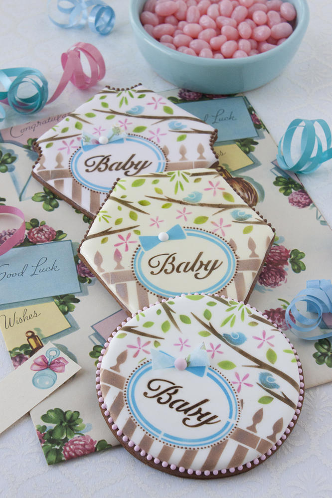 """""""Baby"""" Prettier Plaques Stenciled Cookies"""