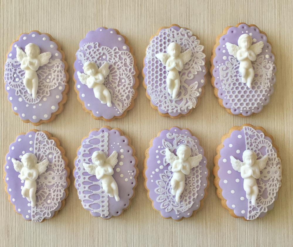 Lavender christening cookies